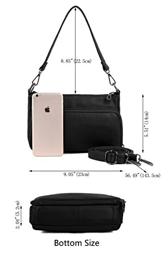YALUXE Women's Small Size Crossbody Bag Leather Mini Purse with 6 Card Slots and fit 5.5'' Smartphone Black by YALUXE (Image #6)