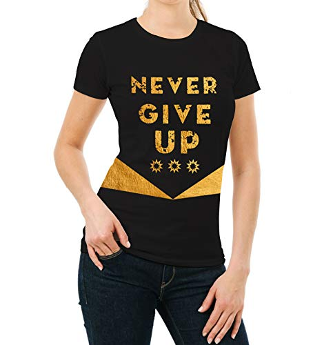 ck Gold Foil Womens Shirt - Adult Never Give Up Yoga Tee Shirt (M) ()