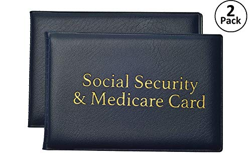 Social Security and Medicare Card Protector with 2 Clear Card Sleeves - Holds Medical Prescriptions, Driver License, Health Insurance, ID, Credit Card Holders, Blue, 2 Pack
