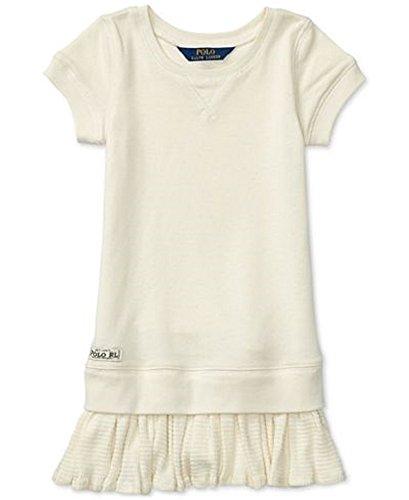 Ralph Lauren Ruffled French Terry Dress, Little Girls (2/2T, Beige)