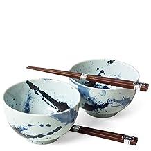 Japanese Sumi Bowls with Chopsticks Gift Set