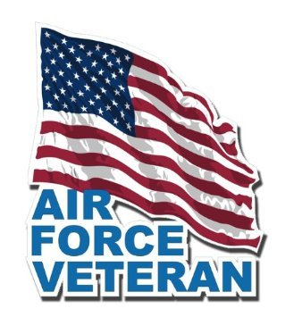 US Air Force Veteran w/ American Flag Decal Sticker 3.8""