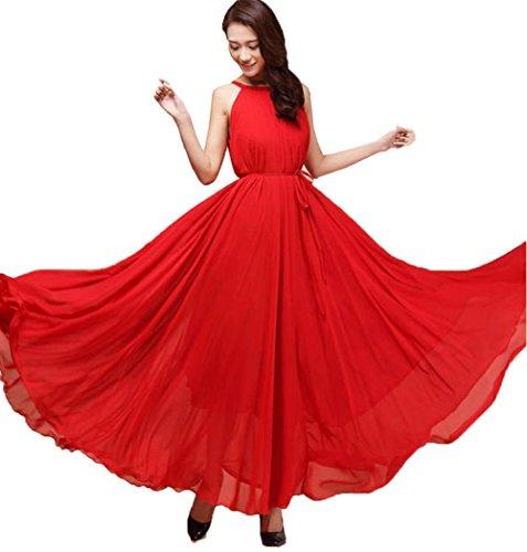 Cocktail aweids Boho Abend Kleid ärmellos Chiffon Sommer Party Rot Lang Vintage xqq1PwSA0B