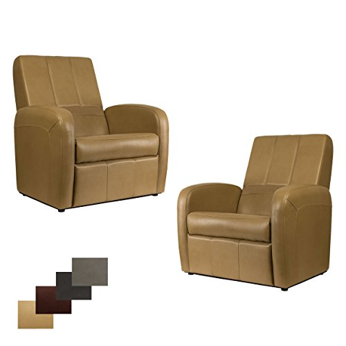 2 RecPro Charles RV Gaming Chair Ottoman w/ Storage Toffee For Sale