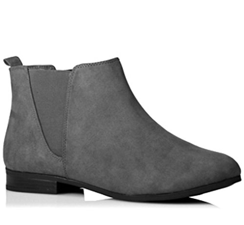 Botines Grey Outlet Suede Chelsea City Faux Mujer qw855a
