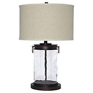 Ashley Furniture Signature Design – Tailynn Farmhouse Glass Table Lamp – Clear and Bronze Finish