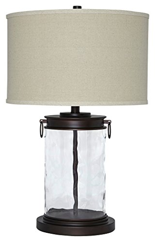 Ashley Furniture Signature Design - Tailynn Farmhouse Glass Table Lamp - Clear and Bronze Finish (Clear For Lamps Room Table Glass Living)