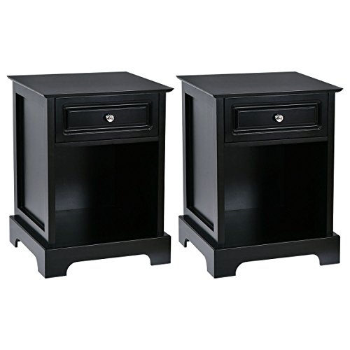 Giantex Night Stand End Table w/Drawer Open Shelf Home Bedroom Furniture Chest Sofa Side Bedside Storage Table Black (2) by Giantex