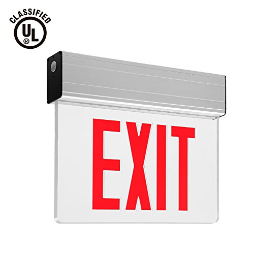 Red LED Exit Sign, UL-Listed Emergency Light, AC 120V/277V, Battery included, Single/Double Face, Ceiling/Side/Back Mount Sign Light, for Hotels, Restaurants, Shopping Malls, - New City York Shopping Malls