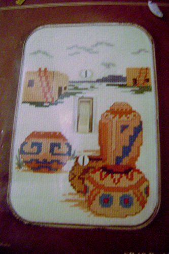 Fond Memories Counted Cross Stitch Kit Pueblo Pottery Acrylic Switchplate