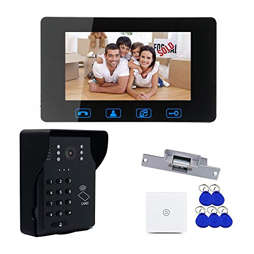 """7"""" LCD ID Card+Password Access Control Video Door Phone Doorbell Intercom System with Night Vision and Wireless Remote Switch"""