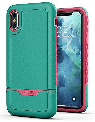 Encased Heavy Duty iPhone Xs Max Case Rugged (2018 Rebel Armor) Military Grade Hybrid Cover w/Full Body Protection (Teal Pink)