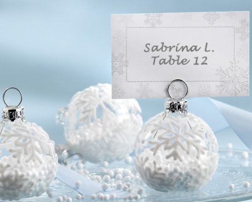 ''Snow Flurry'' Flocked Glass Ornament Place Card/Photo Holder (Set of 6)