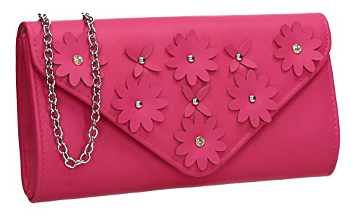 SWANKYSWANS Harley Envelope Floral Party Prom Wedding Night Out Celebrity Ladies Evening Clutch Bag Fuchsia