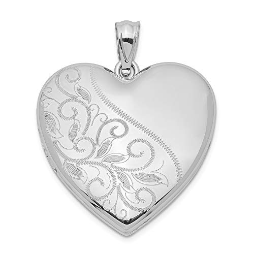 925 Sterling Silver 24mm Scrolled Heart Family Photo Pendant Charm Locket Chain Necklace That Holds Pictures Fine Jewelry Gifts For Women For Her