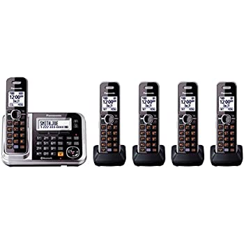 Panasonic KX-TG7875S Link2Cell Bluetooth Cordless Phone with Enhanced Noise Reduction & Digital Answering Machine - 5 Handsets, Black/Silver