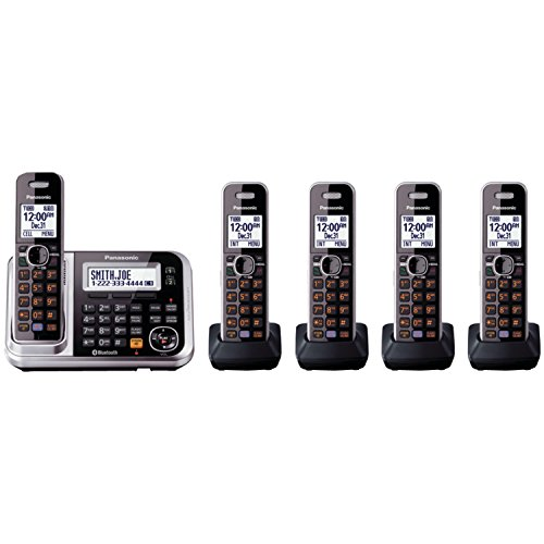 Panasonic Bluetooth Cordless Phone KX-TG7875S Link2Cell with Enhanced Noise Reduction & Digital Answering Machine - 5 Handsets (Black/Silver) - Panasonic Blue Telephone