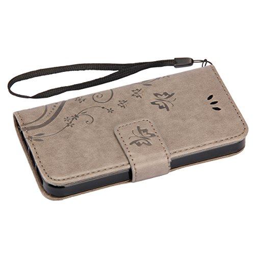 Etsue für iPhone 6S/iPhone 6 Schmetterling Butterfly Schutzhülle Lanyard/Strap Muster Bunte Vintage Painted Magnetverschluss grau PU Leder Hülle Flip Tasche Wallet Case Cover Handyhülle Brieftasche mi