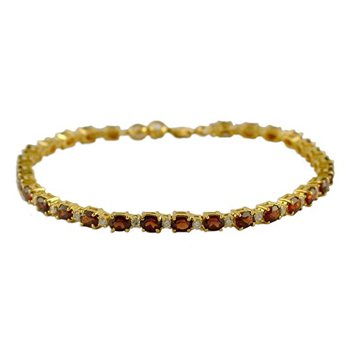 NOVICA Multi-Gem Garnet .925 Yellow Gold Plated Silver Link Bracelet, 7.5