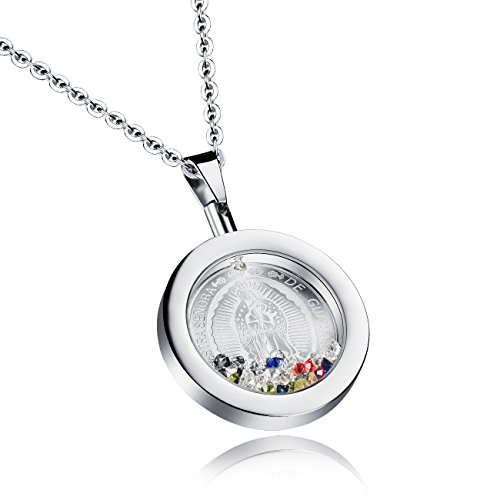Stainless Steel Our Lady of Guadalupe Round Pendant Necklace Catholic Jewelry For Women Silver/ Gold Tone