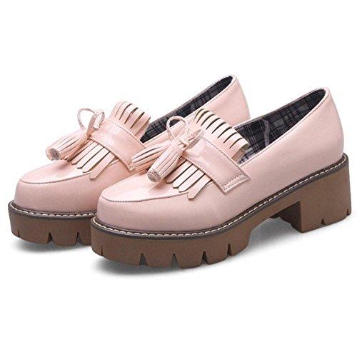 TAOFFEN Women's Mid Heel Court Shoes Pink L9jJ2v