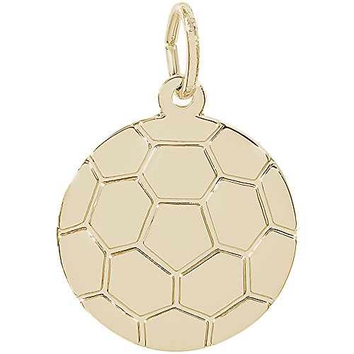 Rembrandt Charms 14K Yellow Gold Soccer Ball Charm on a 14K Yellow Gold Rope Chain Necklace, 20