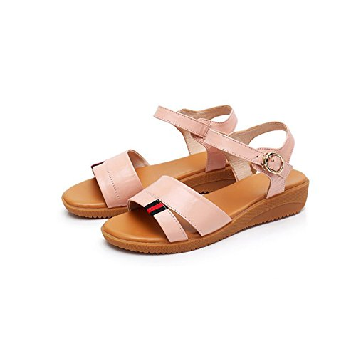 Base Feet Summer Soft Fat Sandalias Flip Open Femeninas Student Flat Simple Toe Casuales Pink Sandalias Flop Zapatos Cuero q0zE8Rq