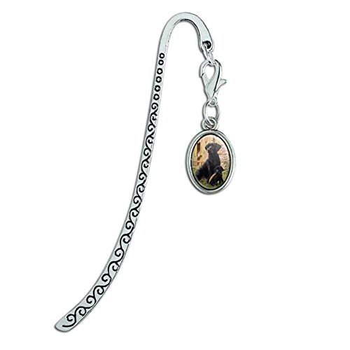 Black Labrador Retriever Dog Puppy Metal Bookmark Page Marker with Oval Charm