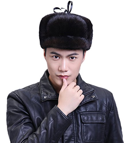 YR Lover Men's Mink Fur Trapper Caps Outdoor Warm Earmuffs Beret Hat