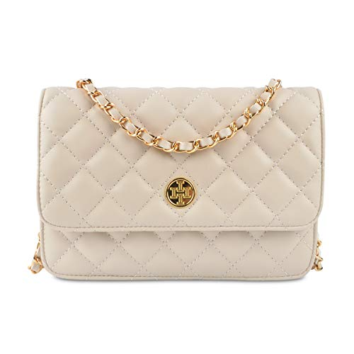 Wallet on Chain,i5 Women Chic Cross body Shoulder Bag Quilted Multi-Pocket Purse Gold Chain Hobo Bag for Girls (beige)