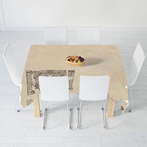 Fashionable Tablecloth,Native American,for Secretaire Square Table Office Table,90 X 60 Inch,Mayan and Inca Tribal Symbols Superstition Primitive