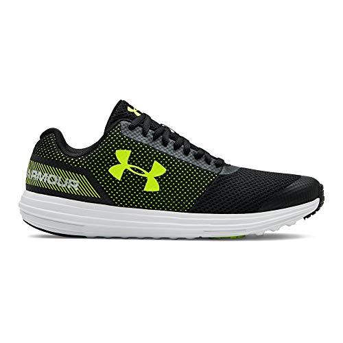 (Under Armour Boys' Grade School Surge RN Sneaker, Black (003)/White, 5)