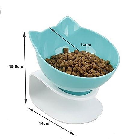 Damncat - Cuenco para Comida de Gato con Soporte Elevado, Ideal para Gatos y Perros pequeños, Color Azul: Amazon.es: Productos para mascotas