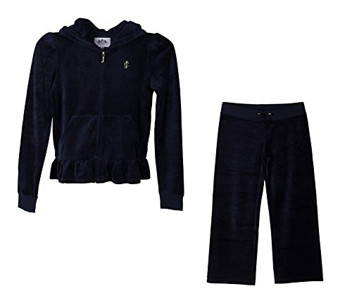 Juicy Couture 2 Piece Fashion Velour, Ruffle Tracksuit; Hoodie and Pants (Large, Navy Blue) by Juicy Couture