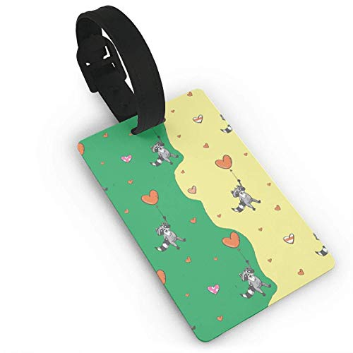 Used, Raccoons Flying Hearts Luggage Tag Initial Bag Tag for sale  Delivered anywhere in USA