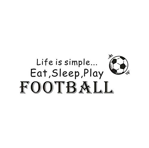 LIANGLE Wall Sticker Wall Stickers Murals 1Pcs Life is Simple Play Football Soccer Vinyl Wall Decal Home Decoration Quote DIY Art Mural Removable Wall Stickers Poster 68X24Cm (Best Vinyl Reissues 2019)