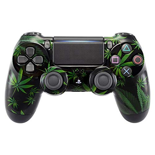 eXtremeRate Green Weeds Hydro Dipped Front Housing Shell Case, Faceplate Cover Replacement Kit for Playstation 4 PS4 Slim PS4 Pro Controller (CUH-ZCT2 JDM-040 JDM-050 JDM-055) (Faceplate Housing Kit)