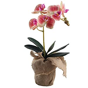 GTIDEA 15.7 Inch Artificial Phaleanopsis Orchid Nature Looking PU Fake Orchid Bonsai Arrangement with Linen Pot Home Office Bedroom Table Centerpieces Decor Light Purple 28