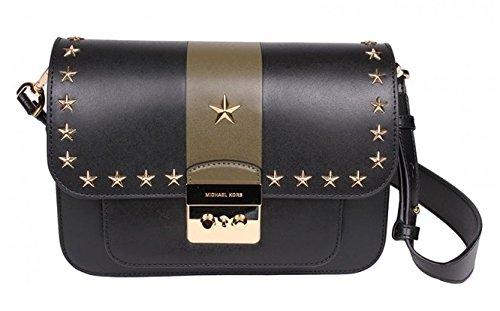 michael kors sloan editor studded leather shoulder bag black rh amazon ca