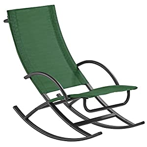 Textoline Rocking Sun Lounger Chair, Relaxing Outdoor Furniture For Garden,  Deck And Patio (Green)