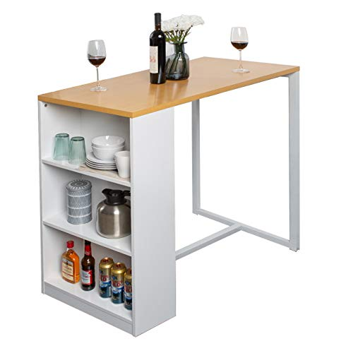 Soges Kitchen Counter Height Dining Table 47 inches Pub Table with Storage Shelves, Bar Table GCBG1022