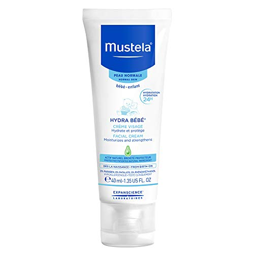 Mustela Hydra Bebe Face Cream, Baby Daily Moisturizer with Natural Avocado Perseose, for Normal Skin, 1.35 Ounces
