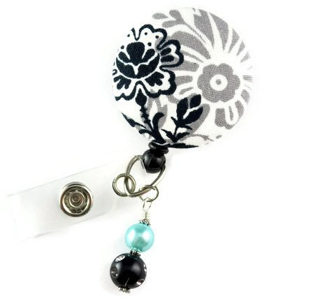 Black and Gray Flowers -Nurse Badge Reel - Name Badge Holder - Retractable ID Badge Reel - Nurse Badge Holder- Name Badge Holder