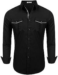 Western Shirts for Men Casual Button Collar Dress Dress Shirt Cowboy Shirt with Pocket S-XXL