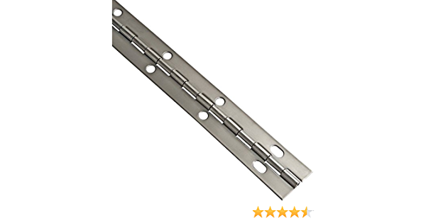 """Aluminum Piano Hinge 1-1//2/"""" x 72/"""" No Holes 1//2/"""" Knuckle 3//64/"""" Thick #4"""