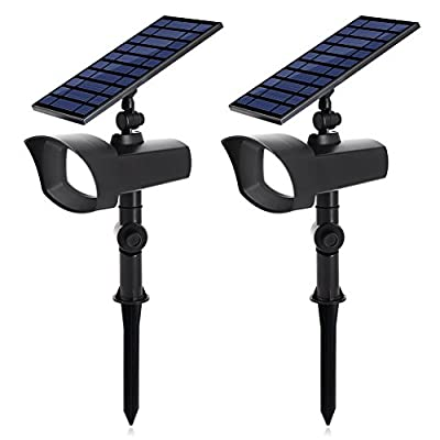 InnoGear Upgraded Solar Lights with White and Rotating Multi-Color Options Larger Panel Outdoor Landscape Lighting Waterproof Spotlight Garden Wall Lights, Pack of 2
