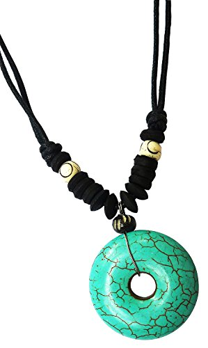 Bijoux De Ja Dyed-howlite Turquoise Hollow Round Pendant Adjustable - Outlet Official Tiffany