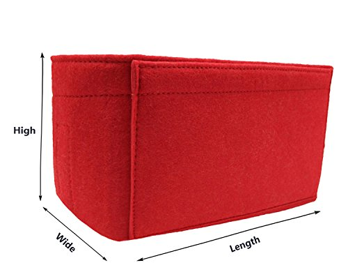 Felt Insert Fabric Purse Organizer Bag, Bag Insert In Bag with Zipper Inner Pocket Red M by LEXSION (Image #2)