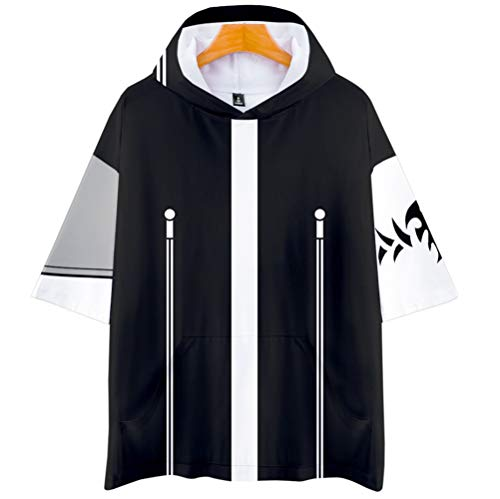 My Sky Men's Short Sleeve Anime T-Shirt Pullover Hoodies Sweatshirt Top Cosplay Costume with Pockets (A Black, Medium) -
