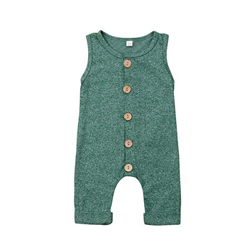 Seyurigaoka One Piece Outfits Baby Grey Striped Rompers with Button Kids Sleeveless Playsuit Jumpsuits Pants Cotton Clothing (Green Overall, 12-18 Months) ()